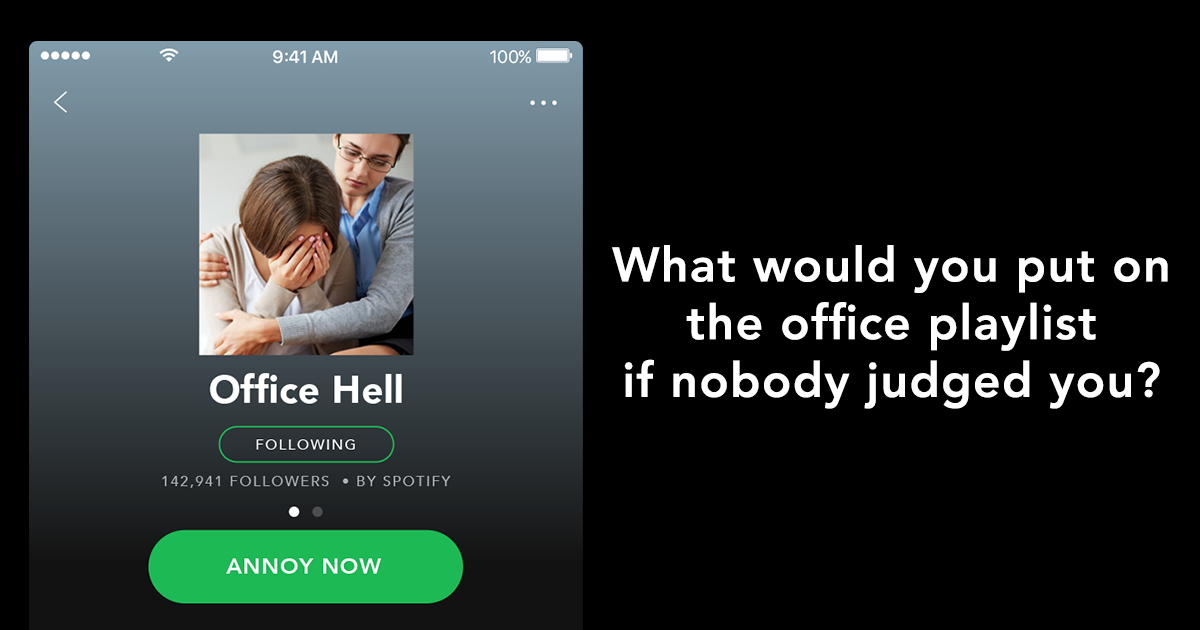 The Bright Signals team list the tracks they'd add to our office Spotify playlist if none of us would judge them for it.