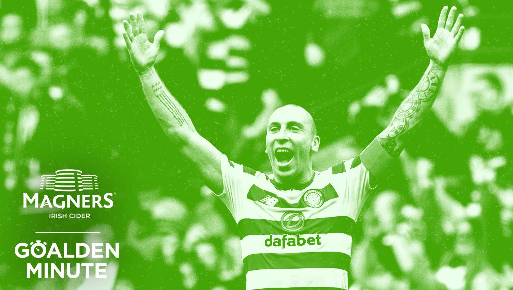 Celtic Captain Scott Brown. Magners Goalden Minute Celtic chatbot promotion by Bright Signals.