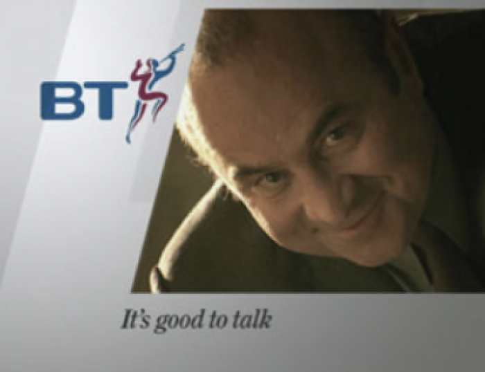 "Bob Hoskins appearing in BT's ""It's good to talk"" campaign."